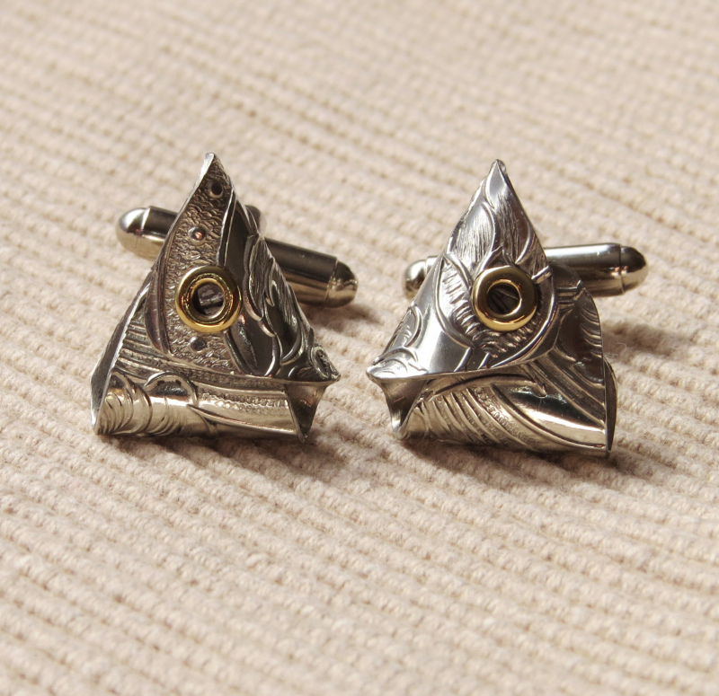 Handcrafted using Embossed Pewter Sheet with brass rivet eyes & fitted with T- bar cufflink fittings. Dimensions :-  Approx. 1.7cm  width  Approx. 2cm height