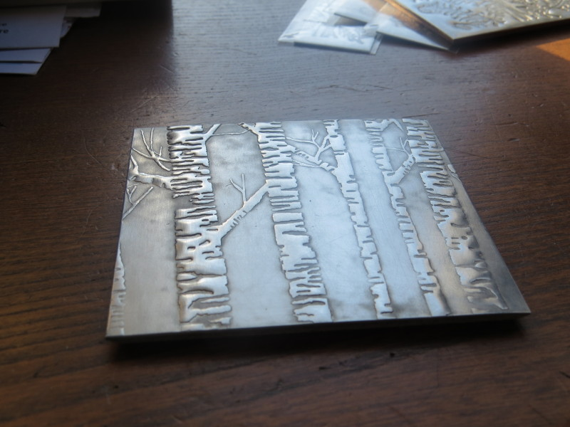 Pewter embossed coaster with antiqued satin finish & cork base. Dimensions :- Approx. 9cm x 9cm