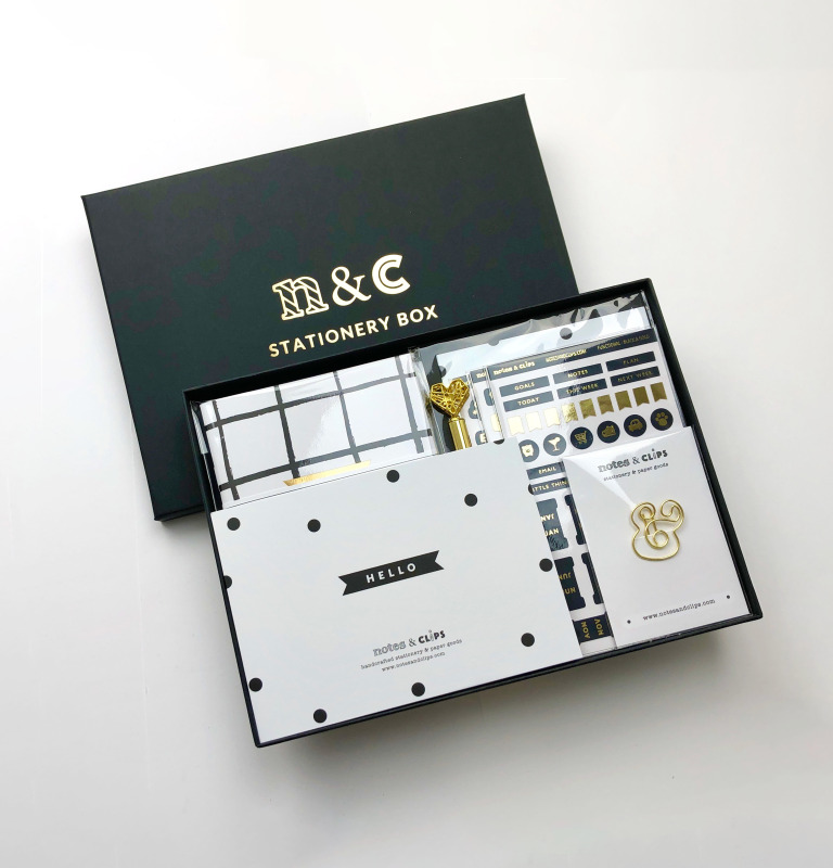 A gorgeous stationery box any stationery lover would adore. A perfect gift for birthdays or simply as a 'thinking of you' gift, this stationery box is in a striking Black and Gold theme and contains an assortment of metallic and geometric accents.