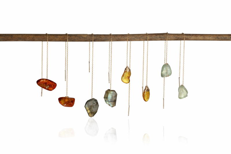 Gold fill, various gemstones (amber and aquamarine shown; labradorite also available). Threaders stay in place naturally, but stoppers are available in case customers are nervous. Matching necklaces available; range also available in sterling silver.