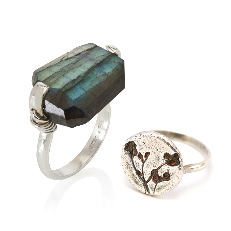 Coil ring in labradorite (link provided, other gemstones available); Stone Parsley ring is oxidised (link via Stone Parsley collection image). Both rings hallmarked sterling silver. Rings are made to order in any size.