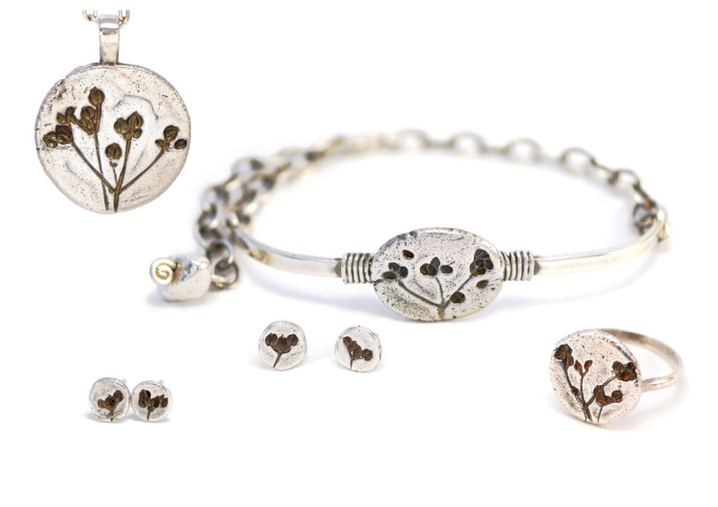 Sterling silver; hallmarked except for the earrings. The imprints are taken from real wildflower seedheads. Cast imprints, assembled and finished by hand. Rings made to any size.