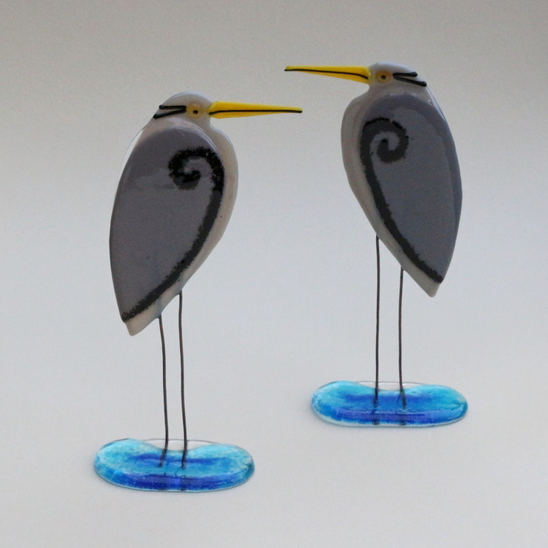Fused glass Herons on blue glass bases with copper legs. Size:18cm Ht