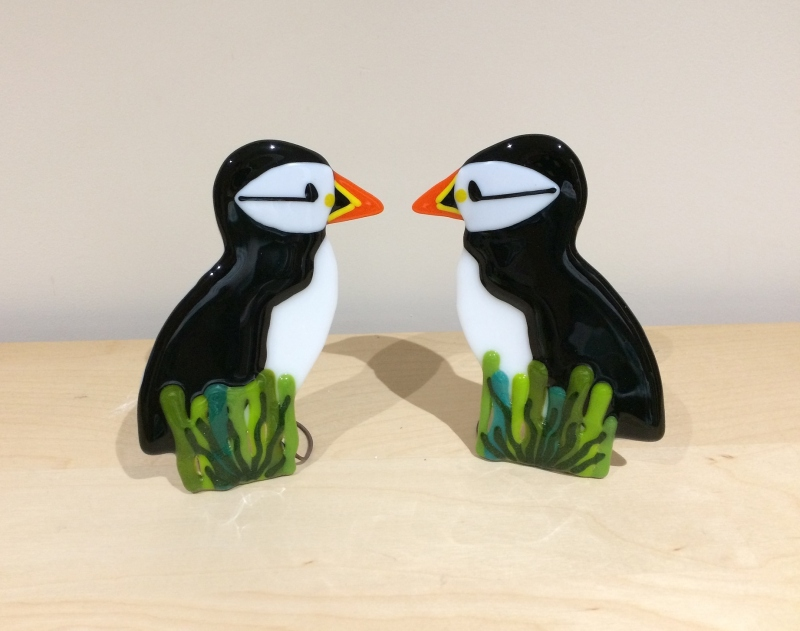 Fused glass free standing puffins, on copper wire bases. Size: 12cm Ht
