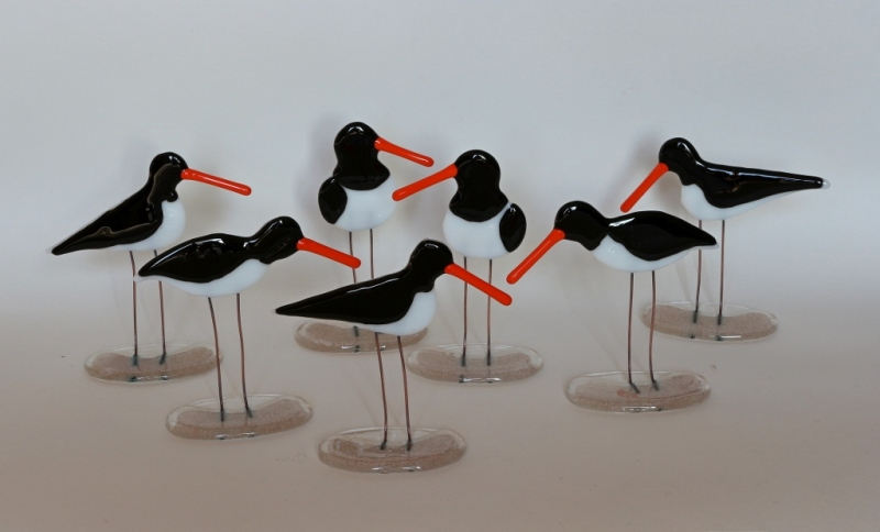 Fused glass freestanding Oystercatchers. 3 different designs available either left or right facing, with sand fused glass bases. Size:13cm Ht.