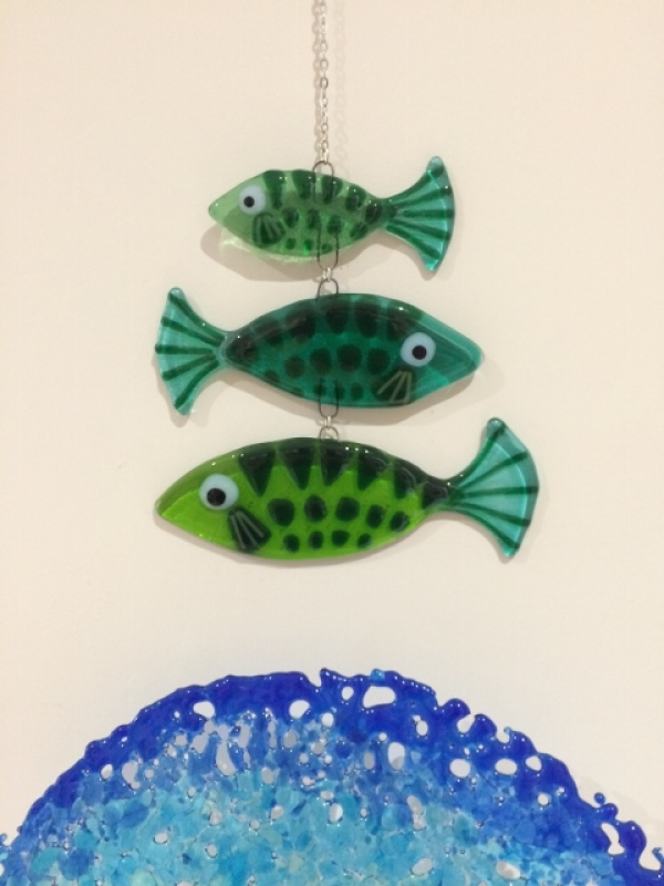 Fused glass three tier fish Sun Catcher. Available in blues or greens. Size: 40cm drop including 25cm chain.