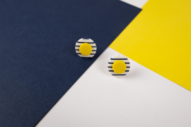 Elegant, chic and so French. A bright pair of stud earrings in primary colours with stripes. Various sizes and colours available. Reminiscent of the long summer days.