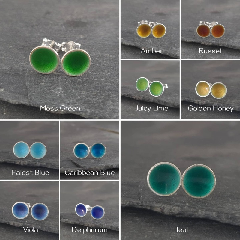Little pools of vitreous enamel in a rainbow of colours. Sterling silver earrings with butterfly backs - these make a lovely little gift. The studs measure approximately 7mm across. Rainbow selection bundle shown RRP £18 a pair