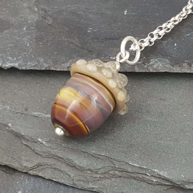 The Acorn Necklace range has six different colours of glass acorn on sterling silver chains. There are three 'natural' colours and three more fanciful. RRP £32