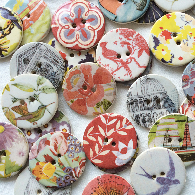 A sumptuous range of buttons using some of the beautiful designs available to us courtesy of the Warner Textile Archive. Although they cost a few pence more to cover royalty payments these buttons are highly sought after by crafters and collectors.