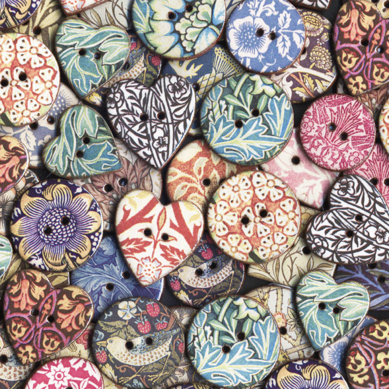 Choose from our sumptuous range of ceramic heritage buttons including iconic William Morris Designs. Many NEW additions to select from. All handmade in Cornwall, UK.