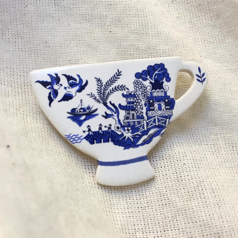Unique ceramic Tea Cup brooches including new heritage designs for Spring 2021. All handmade in Cornwall, UK.