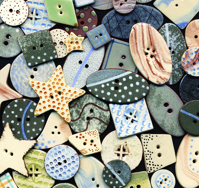 A large range of hand painted buttons using coloured slips and glazes based on the muted colours of the pebbles we find on our local beaches. This range was originally designed for Coast Magazine and has since grown in breadth and popularity.