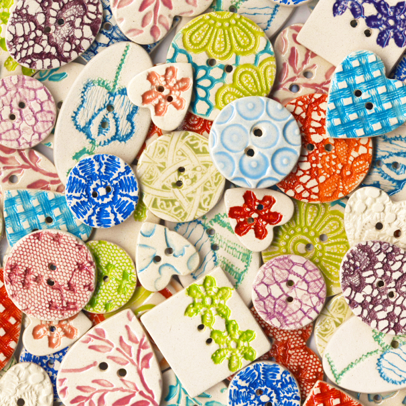 Our original and very popular range of ceramic buttons. Choose from bright hand painted designs including luscious dots, stripes, textured lace and more. Handmade in Cornwall, UK.