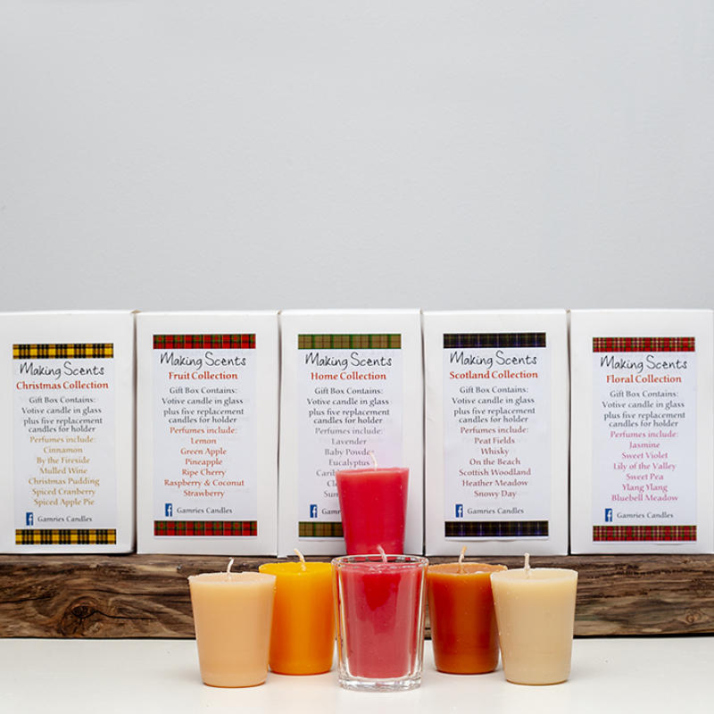 6 15hr votives, with glass, in the four varieties