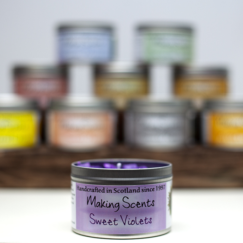 Available in 36 different fragrances, with clear lids and cubed candle top