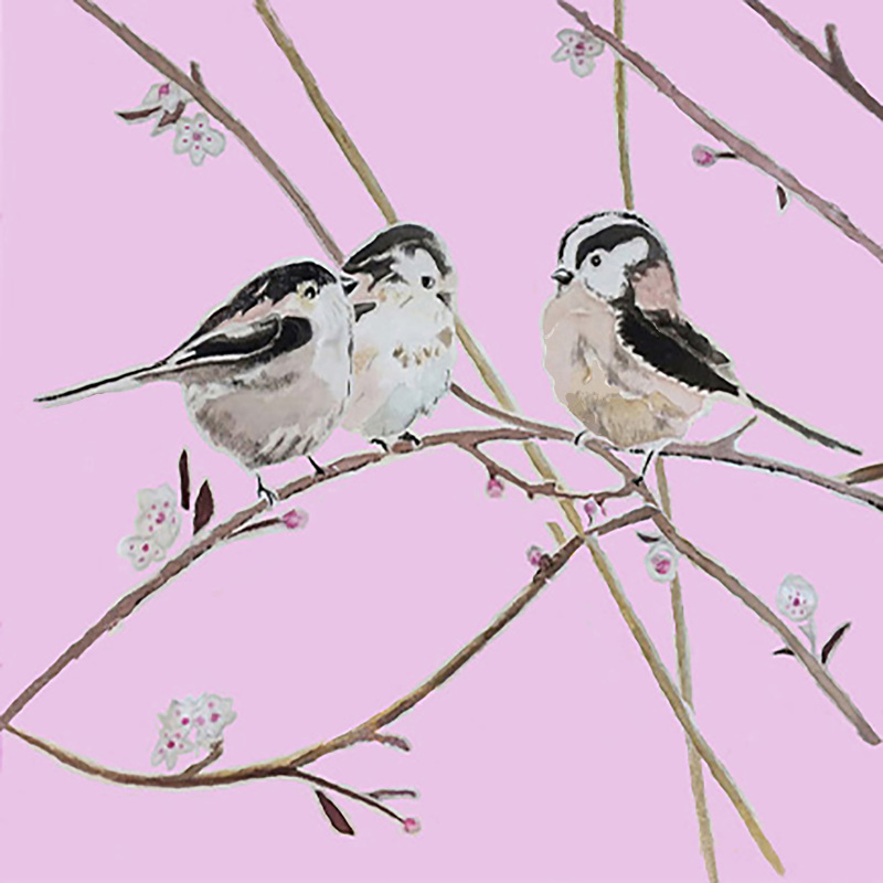 A card of Three long-tailed tits