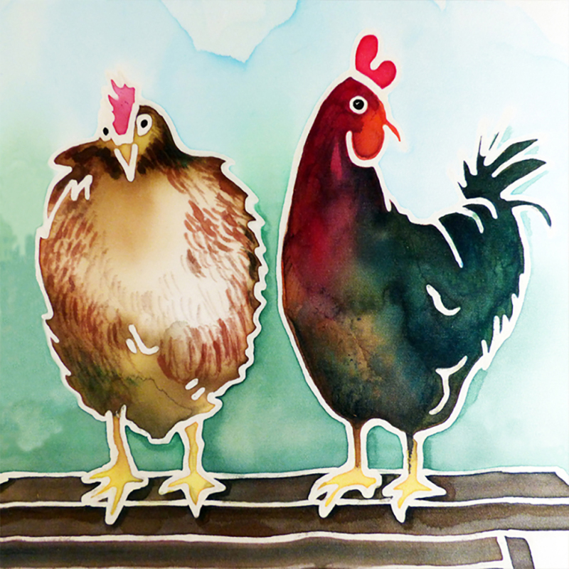 A card of Two Chickens