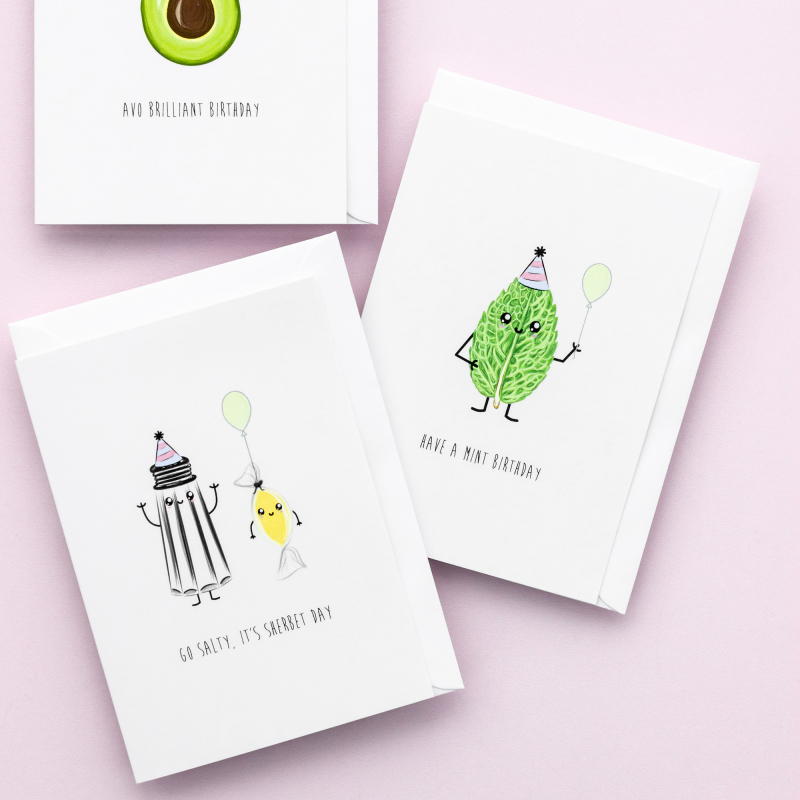 We have over 20 designs of punny birthday cards. They are printed on matt, 350gsm, FSC certified board. Supplied with a white FSC 130gsm envelope.