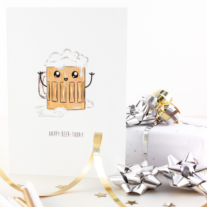 Nice to have a beer on your birthday. Greetings card printed on matt, 350gsm, FSC certified board. Supplied with a white FSC 130gsm envelope.