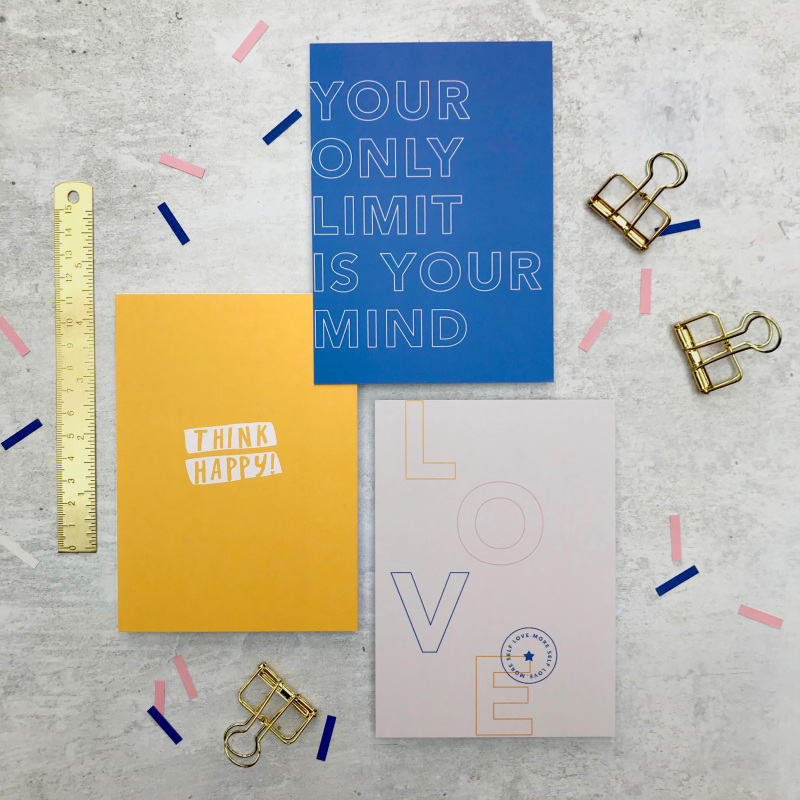 """A set of 3, A6 motivating typographic postcards. These mini prints are perfect for displaying in frames or sending to loved ones as a token boost. Including: 'Think Happy, More Self Love and Your Only Limit is Your Mind"""""""