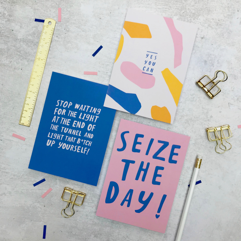 """A set of 3, A6 uplifting typographic postcards. These mini prints are perfect for displaying in frames or sending to loved ones as a token boost. Including: 'Seize The Day, Stop Waiting… and Yes You Can"""""""