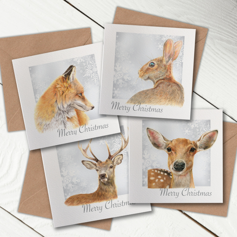Christmas Cards, professionally printed onto thick structured paper card.