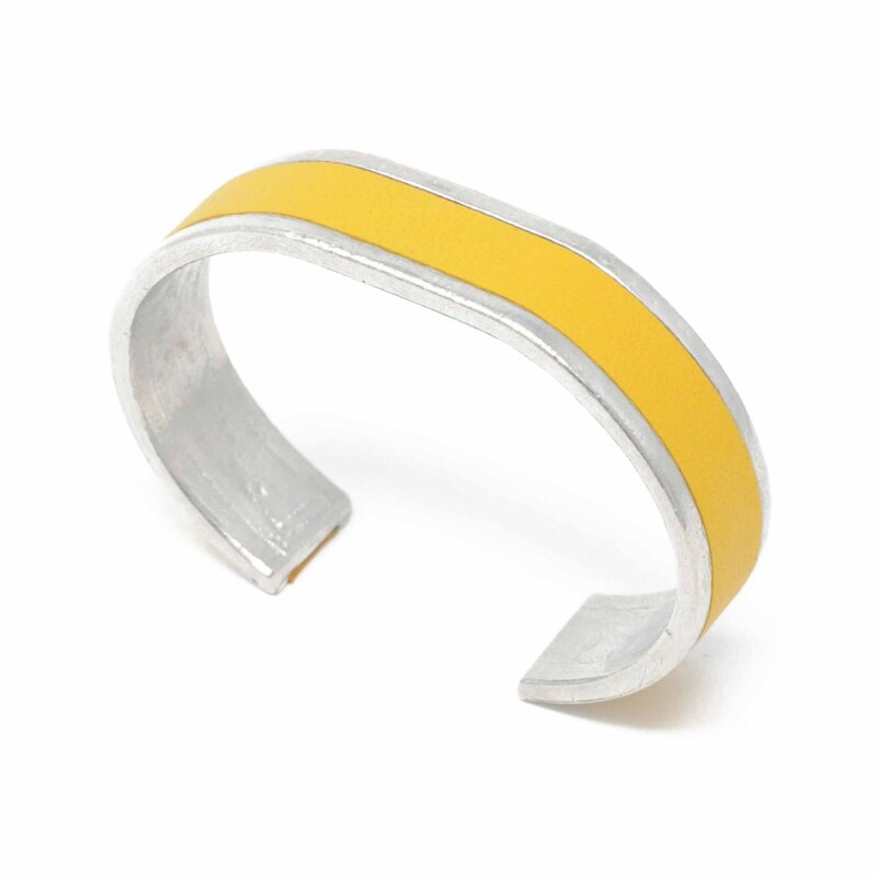 Hand cast pewter and hand cut leather bangle