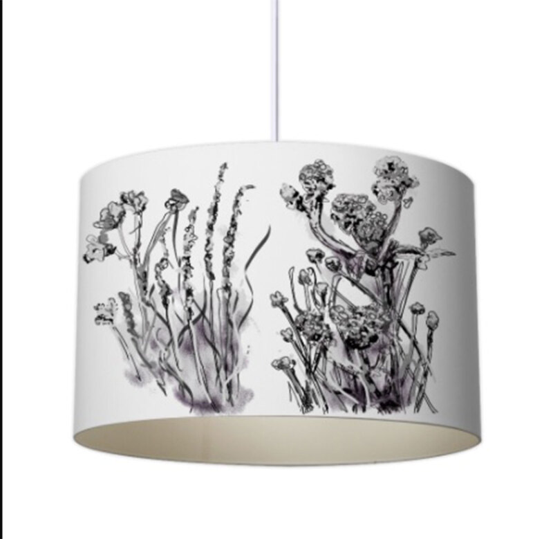 Meadow Muse was created by sketching and is a wistful and delicate aspect to it with it's grasses and flora; Each Lampshade is studio hand made and comes in three size (other sizes available on request) in 20, 30 and 40 cm. Choice of colours.