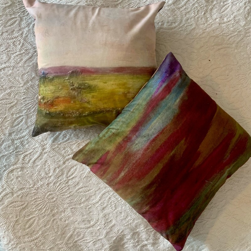 In a choice of Linen or Velvet natural material.  Peace Descends is a depiction of the landscape from an oil painting and creating a unique mergence with match abstract designs to create a sumptuous range of Homeware.
