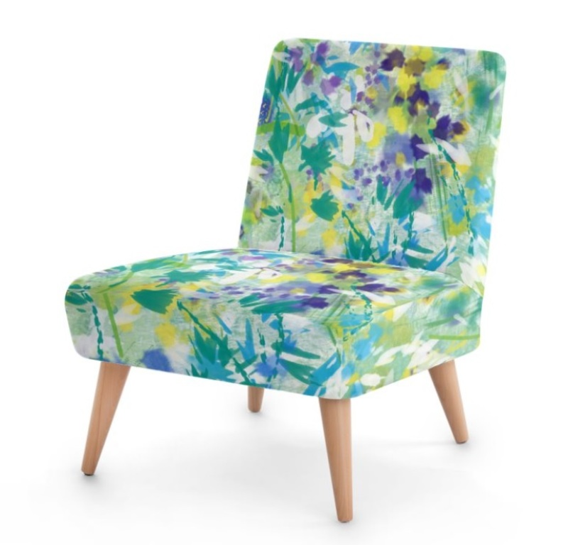 Abstract, contemporary, fresh and on trend;  these chairs are sustainable with sourced beech wood and are low and wide for comfort.  Available in all my designs and suitable for any Interior Design.
