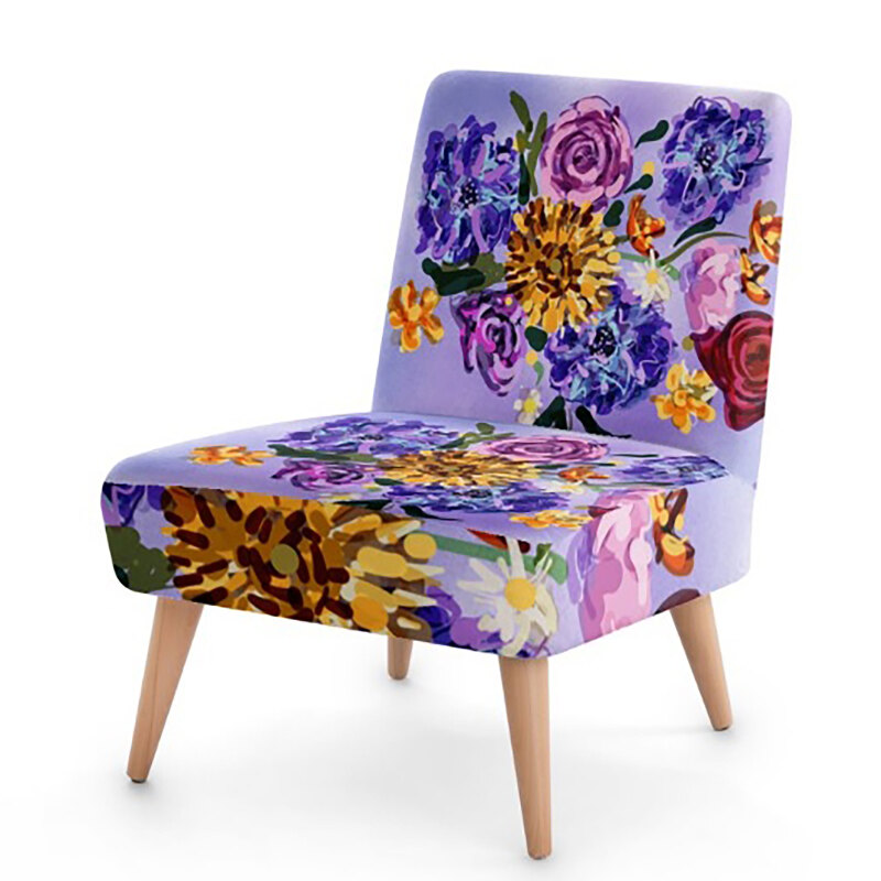 Originally hand painted and place on vegan suede fabric and sustainable beech wood this chair is versatile, stylish and suit any decor. Artisan British Handmade.