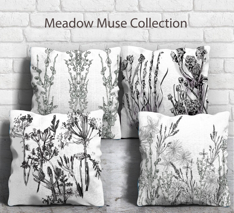 Four designs taken from sitting in a field in the heart of England and sketching the flora and faun around me.  These cushions are soft and can either be in Cotton/Linen or Velvet. This design as been feature in International and national magazines.