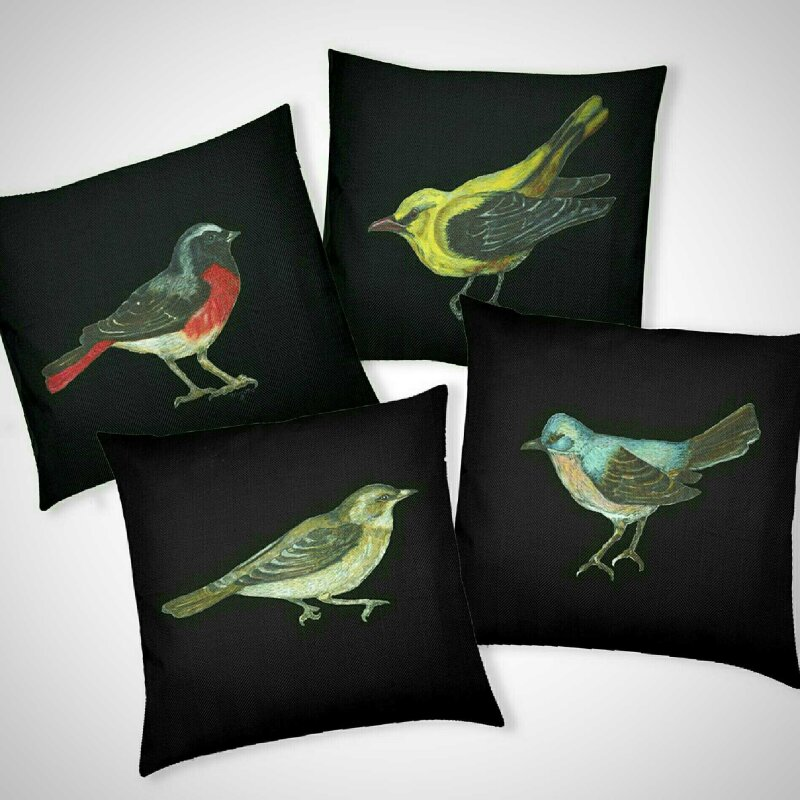 Hand drawn and painted in my studio this beautiful depiction of our natural wildlife will be a joy to any nature lover. Depicting a Redstart; Golden Oriole, a Garden Warbler and Sub-Alpine Warbler on  a sumptuous soft Cushion with choice of inner.