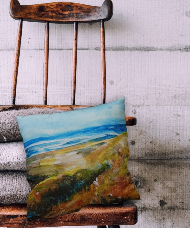 Depicting our British Coastline and painted on the beach; this designs comes with a matching abstract Wave design creating a feeling of peace and tranquility wherever you are!