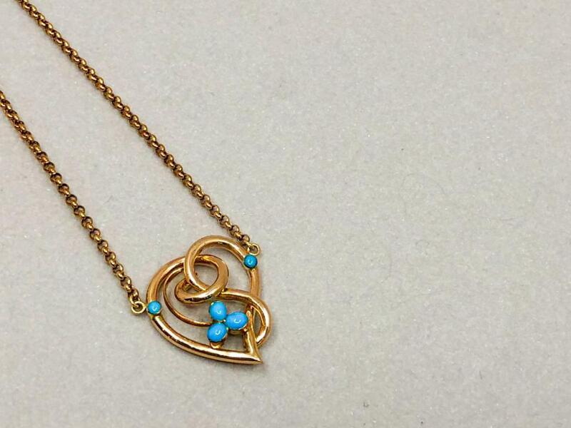 """This art nouveau style vintage pendant called to me from an antique jewellery store in London's Hatton Garden.  I try to re-home vintage pieces, as I like to recycle and redesign. 18"""" and set with rare Arizona turquoise stones in fleur du lys style."""