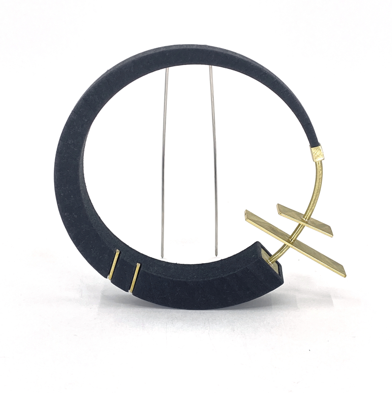 3D Printed Nylon & Brass Brooch with Stainless Steel double pin.