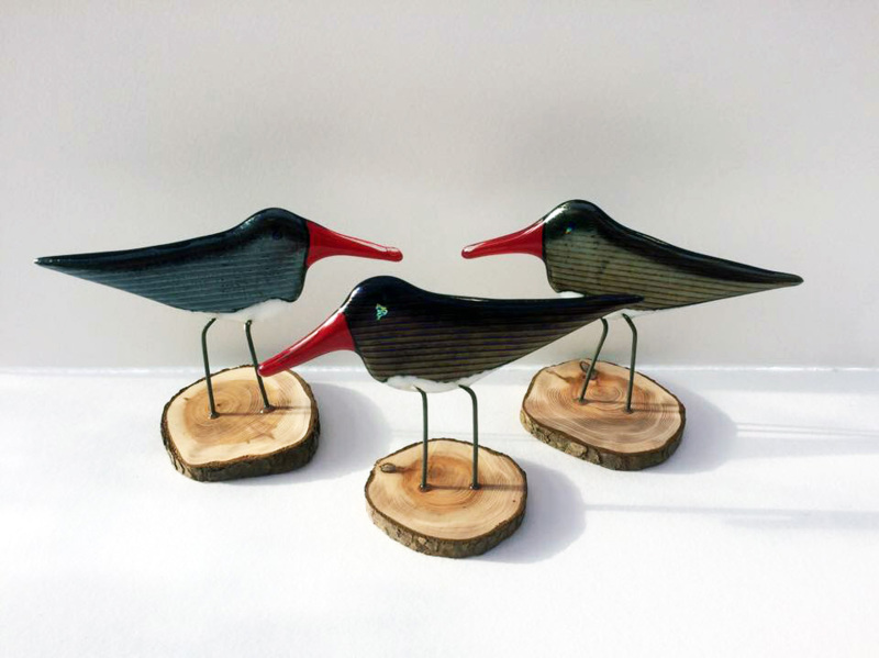 Fused Glass Oyster Catcher with strong wire legs on a wooden stand.  Approx. 15 x 12cm.