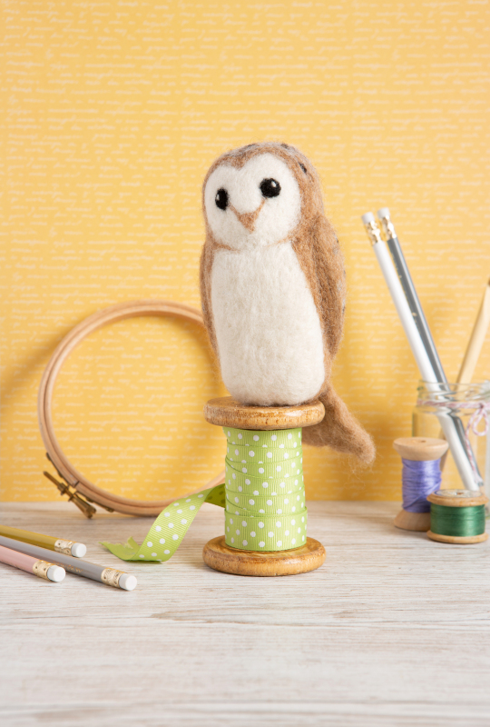 Barn Owl. Learn how to needle felt using our beautiful British wool. Follow the photo instructions & use the included felting needles to stab the wool. Our range of animals & birds are irresistibly collectable!