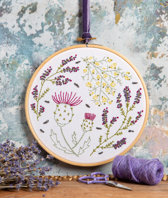 Highland Heathers. Our best selling Highland Heathers design is part of our botanical embroidery kits range, available on a white background as shown or on a black background. Great as a gift or as a treat for a friend or dedicated crafter to enjoy.