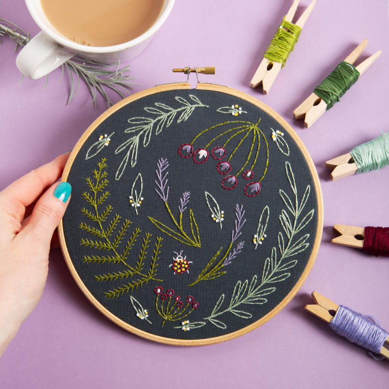 Black Wildwood. This design is a best seller & just one of our range of botanical embroidery kits. Ideal for beginners & those looking to practice their stitching skills. Simply put the pre-printed 100% cotton fabric in the hoop and start stitching!
