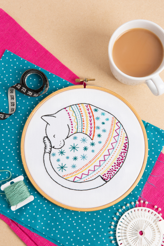 Cat - best seller. Just one of Stephanie's distinctive, contemporary & colourful animal designs from our range of embroidery kits, this sleeping cat is consistently popular.