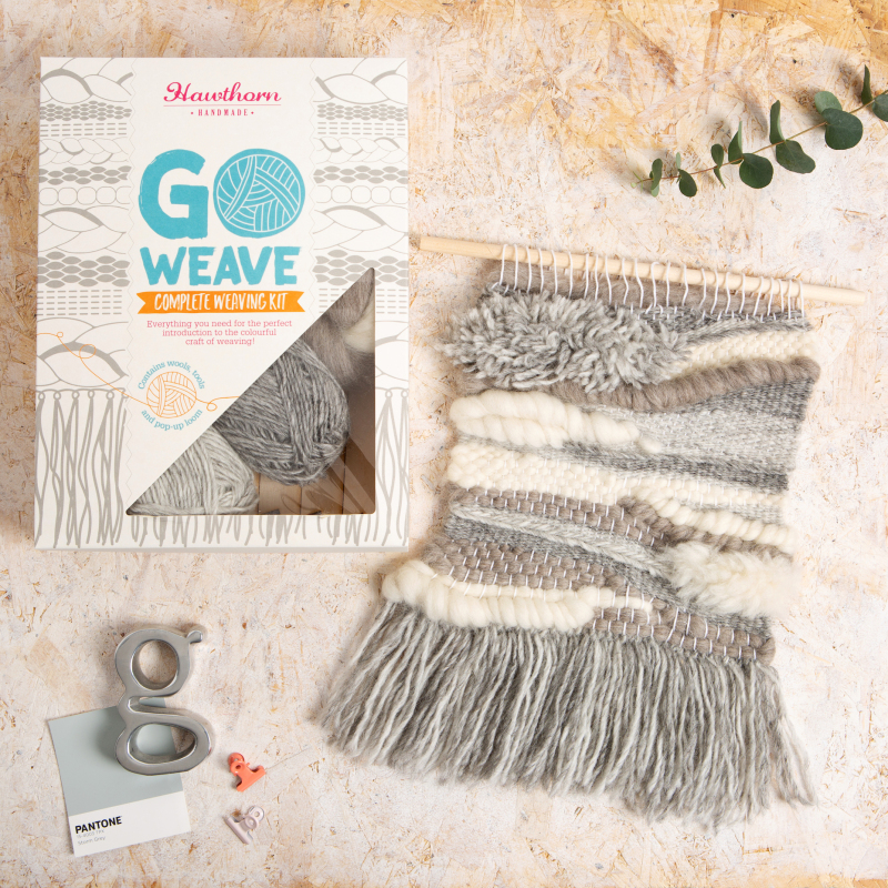 Folklore. This complete weaving kit puts all the tools & materials you need at your fingertips, ready to be turned into a one of a kind woven wall hanging. One of 6 different designs & colours in our weaving range. Our Pop Up Loom is included.