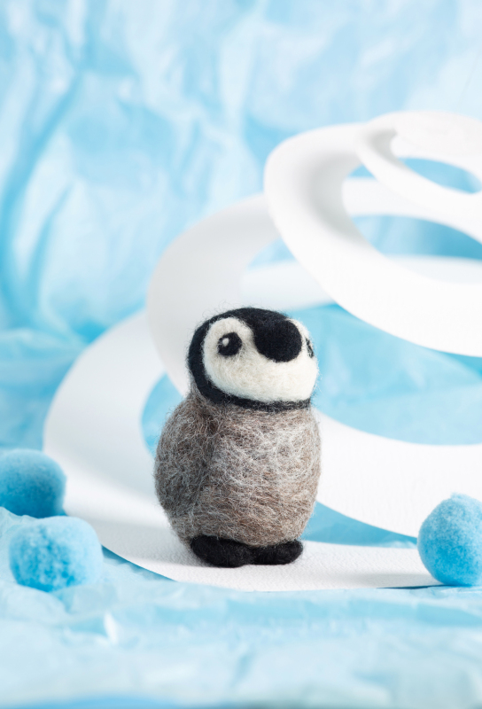 Baby Penguin. Our mini kits are the perfect impulse buy & are a great way to get started with needle felting. The stand out packaging will catch your customer's eye and the low price point makes them ideal stocking fillers or pocket money purchases.
