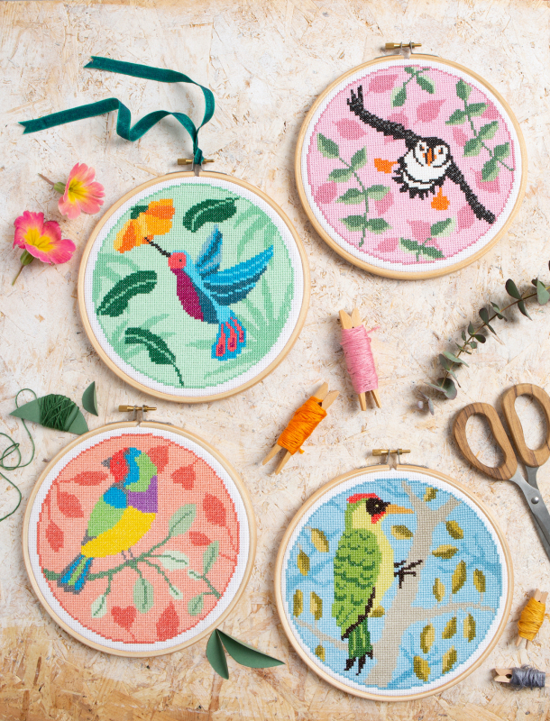 NEW Hummingbird, Puffin, Rainbow Finch & Green Woodpecker. 4 glorious birds and foliage designs are launching to expand our range of cross stitch kits. Suitable for beginners & highly collectable by keen stitchers too.