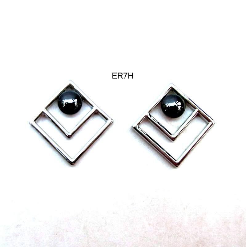 Rhodium plated settings with haematite cabochons