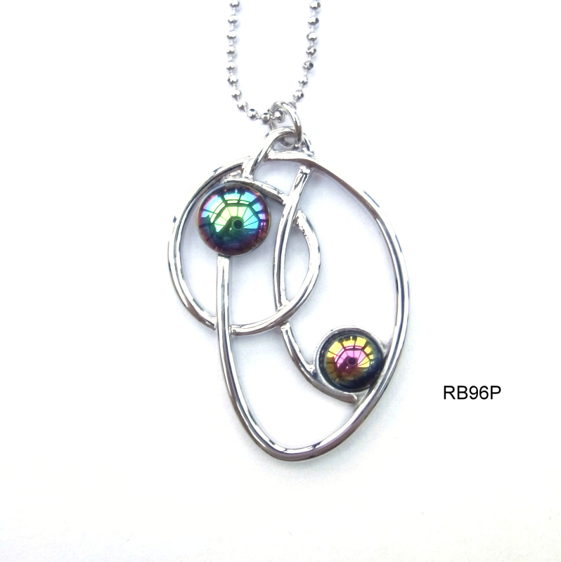 Rhodium plated settings and chain with rainbow haematite cabochons