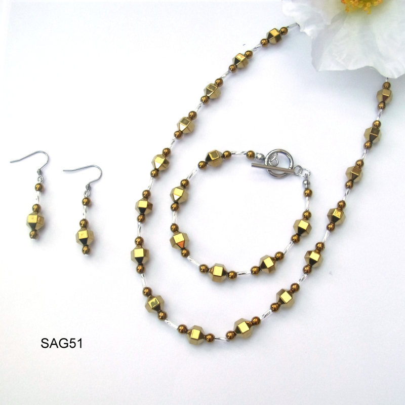 Gold and Silver plated haematite necklace, bracelet and earrings