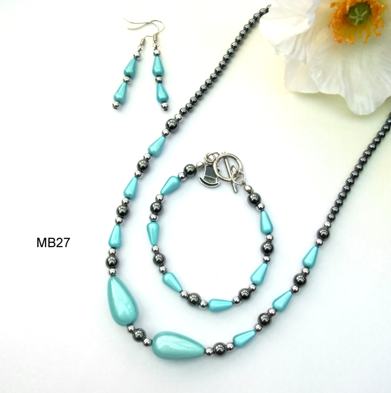 Miracle beads and haematite necklace, bracelet and earrings