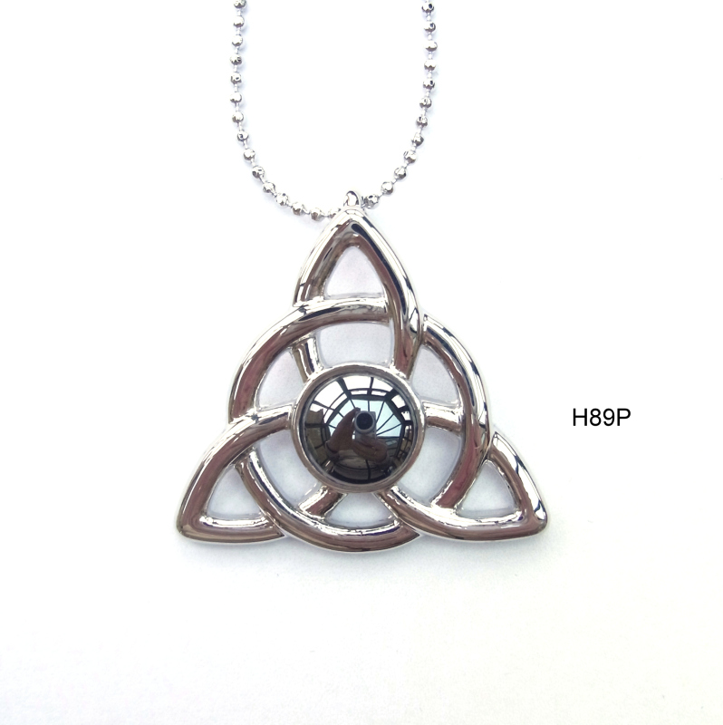 Rhodium plated settings and chain with haematite cabochon